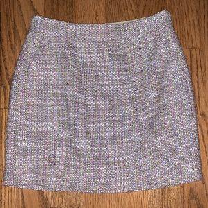 J CREW woven plaid skirt pink white 0